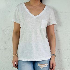 Tops - BASIC White Short Sleeve V-Neck Tee